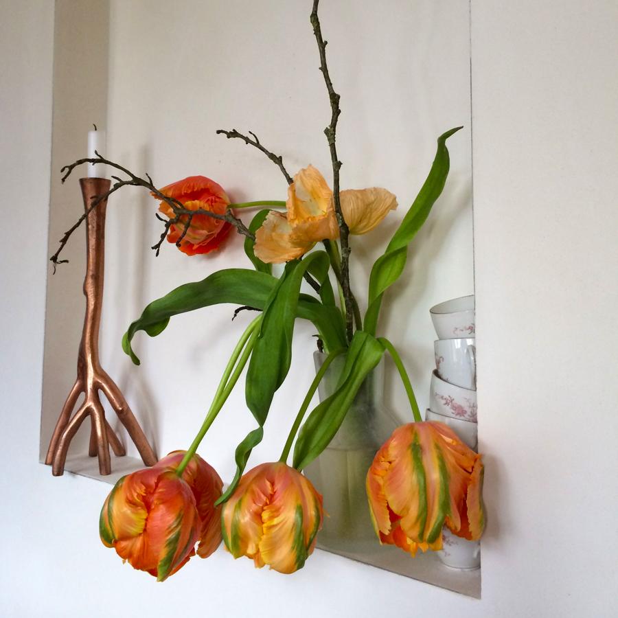 Bloemen in je huis | Arrangement van oranje tulpen